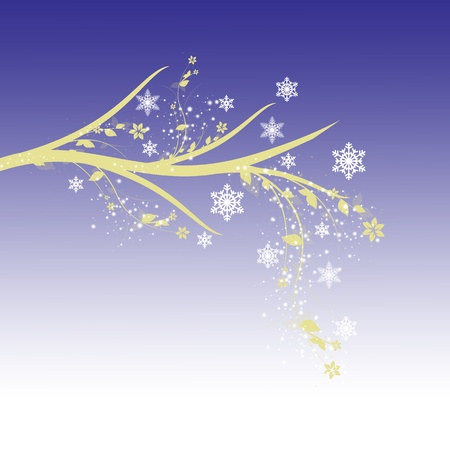 snowflake background: Beautiful winter tree with snowflakes on blue background