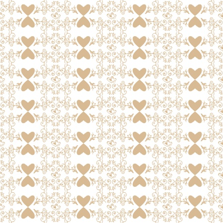 Beautiful background of seamless floral and heart pattern Vector