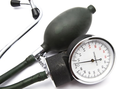Old sphygmomanometer closeup on white background 