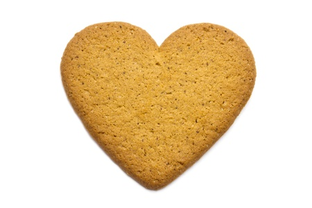 Gingerbread heart isolated on white background  photo