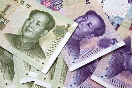 Background of different chinese money closeup Stock Photo