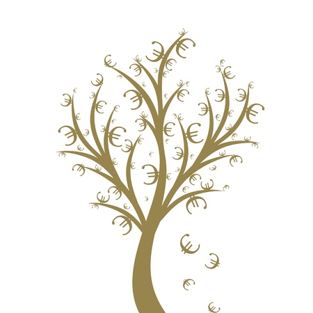 Abstract money tree with euro symbol isolated on white Stock Vector - 11268019