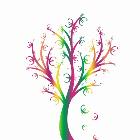 Abstract money tree with euro symbol isolated on white Vector