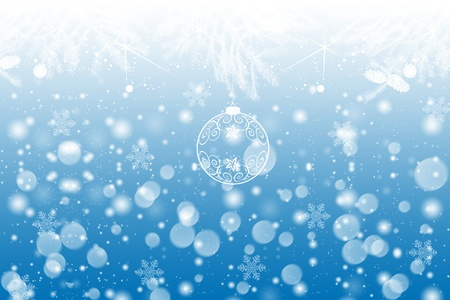 Beautiful winter background with snowflakes and lights Vector