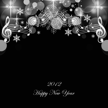 Beautiful greeting card of happy new year 2012