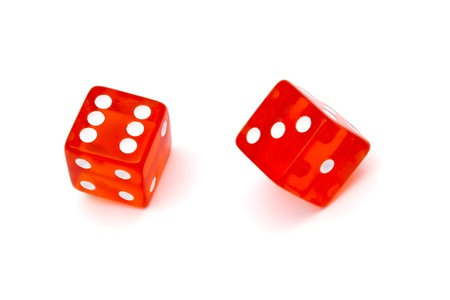 Red dice isolated on white background   photo