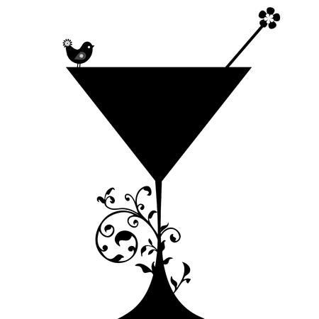 Silueta bebida cóctel aislados sobre fondo blanco