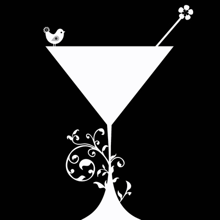 contemporary taste: Cocktail drink Silhouette isolated on black background Illustration