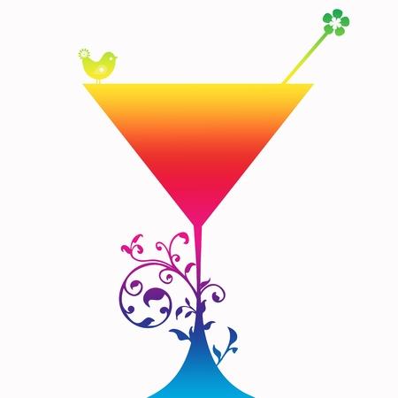glas kunst: Cocktail drinken Silhouette geïsoleerd op grijze achtergrond