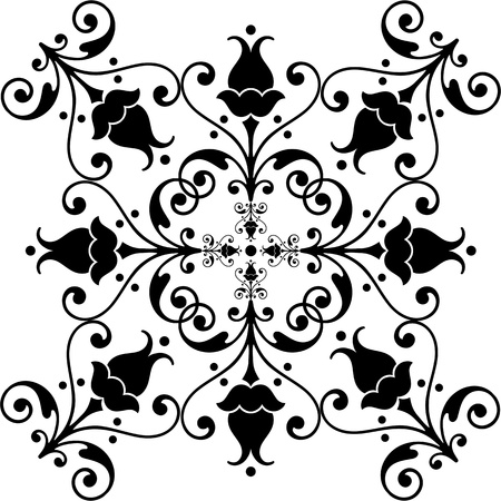 Beautiful and classic floral pattern on white background Vector