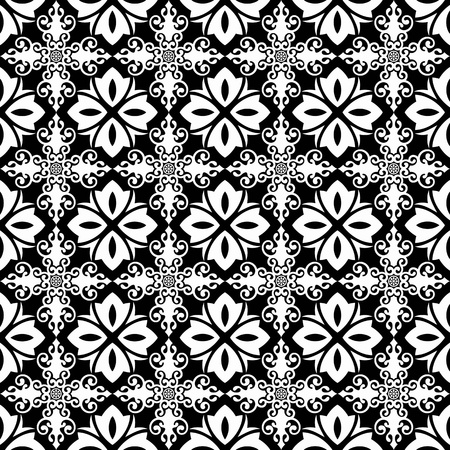 contrast floral: Beautiful background of seamless classic floral pattern