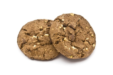 goodies: Delicious chocolate cookie isolated on white background   Stock Photo