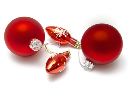 Beautiful christmas decorations isolated on white background   photo