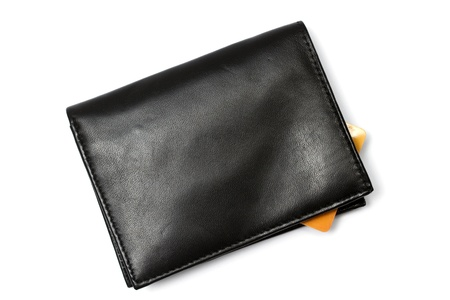 Black wallet and Credit card isolated on white background 