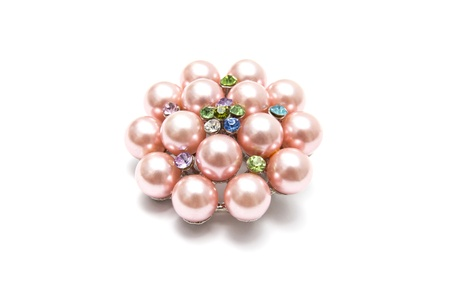 brooch: Beautiful pink brooch isolated on white background