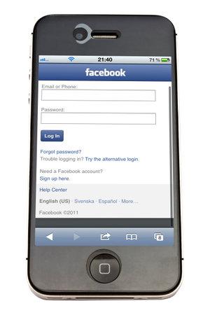 Facebook website display on iPhone 4s screen