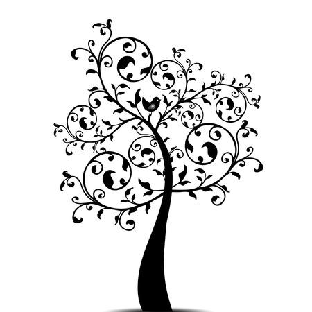 Beautiful art tree isolated on white background Stock Vector - 11586212