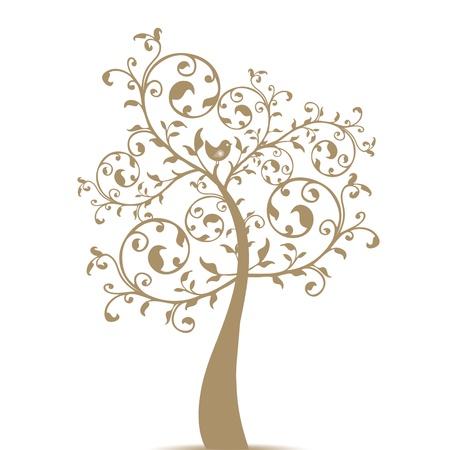 El arte hermoso árbol aislado sobre fondo blanco