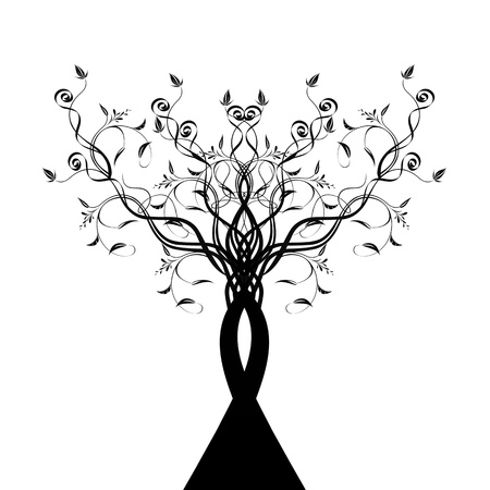Beautiful art tree silhouette isolated on white background  Vector