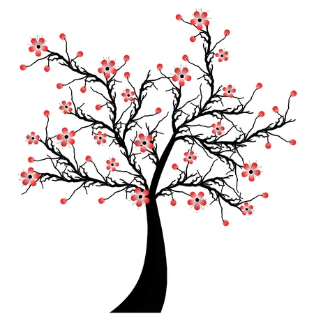 Beautiful blossom cherry tree isolated on white background Vector