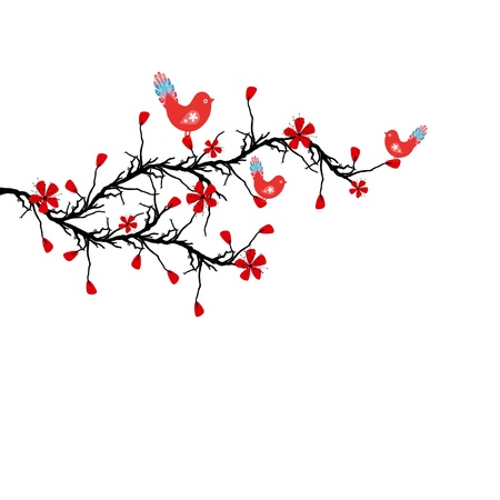 Beautiful blossom cherry and birds Vector