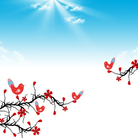 Beautiful blossom cherry and birds on blue shky background Vector