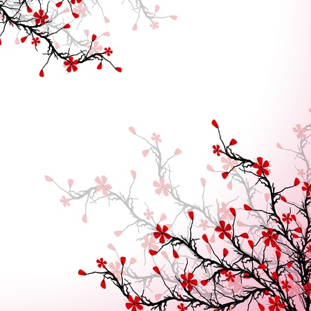 Beautiful blossom cherry on pink background Vector