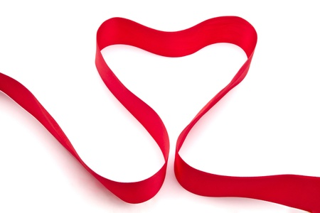 Red ribbon isolated on white background photo
