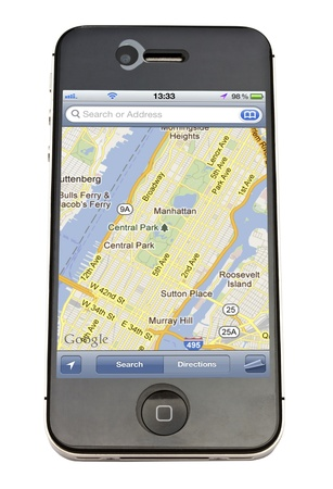 Map displayed on Apple iPhone 4s Editorial