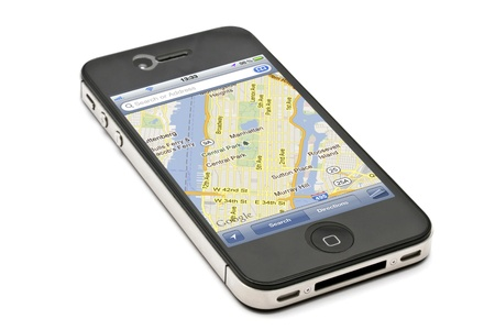 displayed: Map displayed on Apple iPhone 4s Editorial