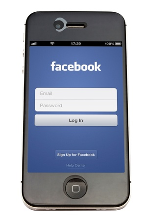 Facebook  on an iPhone screen