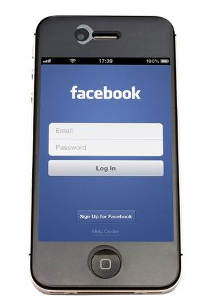 facebook: Facebook  on an iPhone screen
