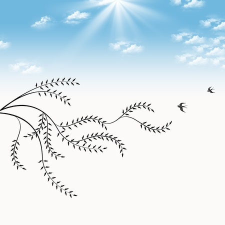 willow tree: Branch of willow and birds isolated on blue sky background Illustration