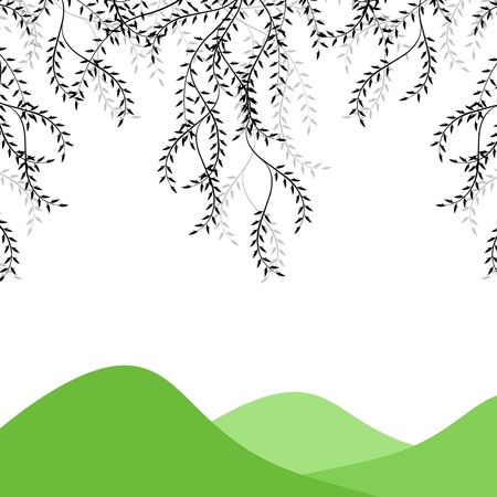 Branch of willow and mountains Vector
