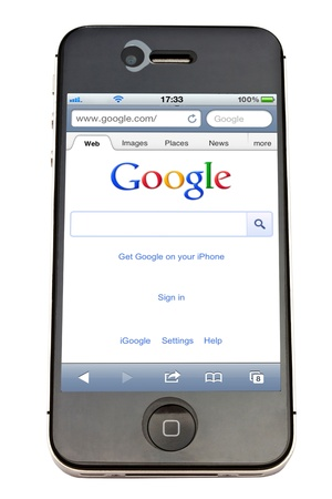 internet search: Google website displayed on  an iPhone screen Editorial