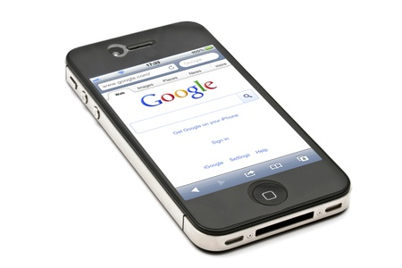 Google website on  an iPhone screen