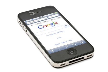 Google website on  an iPhone screen