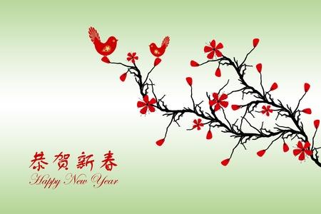 Beau fond de Chinois carte de v?ux Ann�e Nouvelle