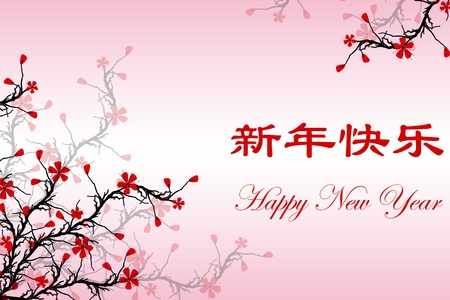Happy New Year Card with Chinese & English text Stock Vector - 11785741