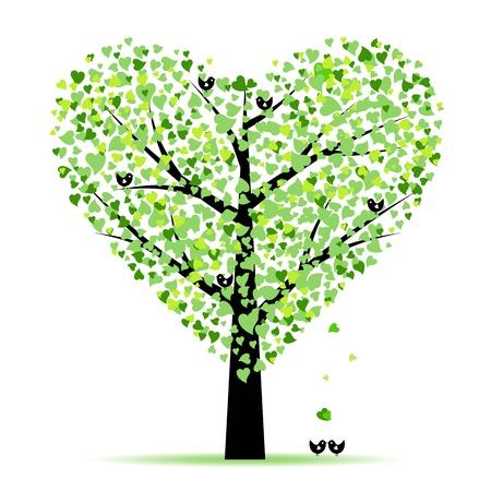 boom met vogels: Valentine boom met hartjes bladeren en vogels