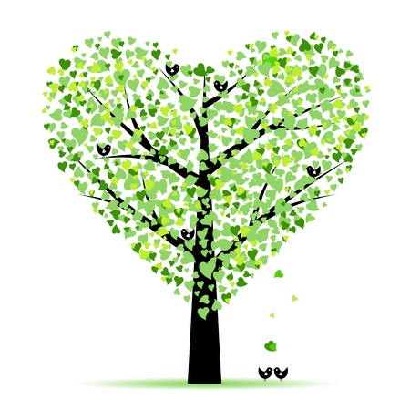 tree drawing: Valentine tree with hearts leaves and birds