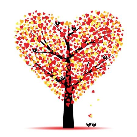 �rboles con pajaros: Valentine �rbol con hojas corazones y aves Vectores