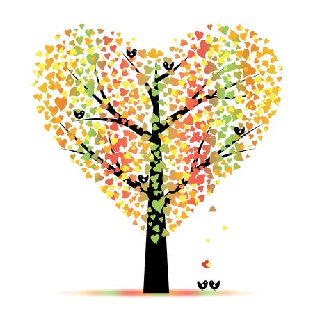 Valentine tree with hearts leaves and birds Vector
