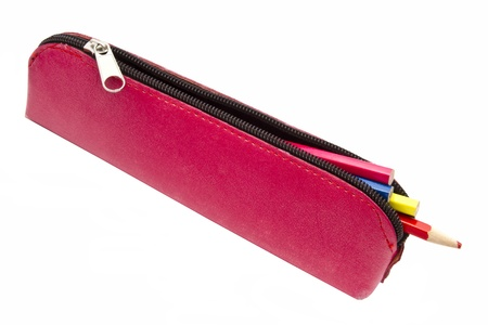 case: Red pencil case and penciles isolated on white background   Stock Photo