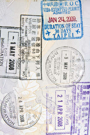 Background of immigration stamps on passport   photo