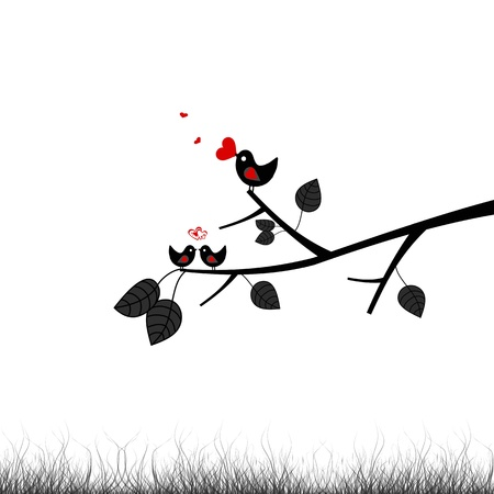 Beautiful Valentines birds and branch Vector
