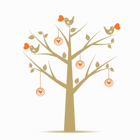 Beautiful Valentines Tree Isolated on White Background Vector