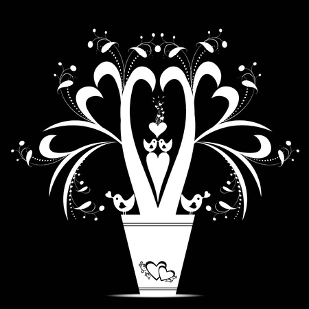 Valentines floral and birds isolated on black background Vector