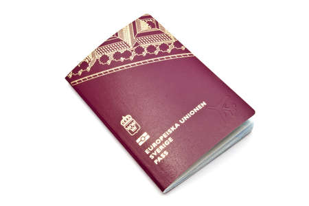 Swedish passport isolated on white background   photo