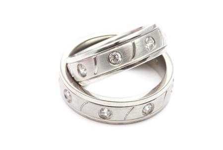 Wedding rings  isolated on white background Stock Photo - 11991432